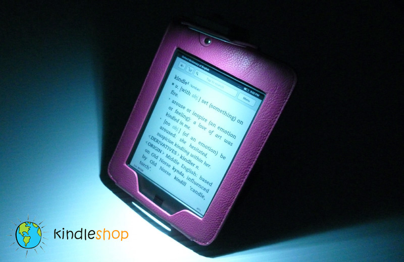 NEW PURPLE  Kindle TOUCH Light Lighted Leather Case Cover Stand