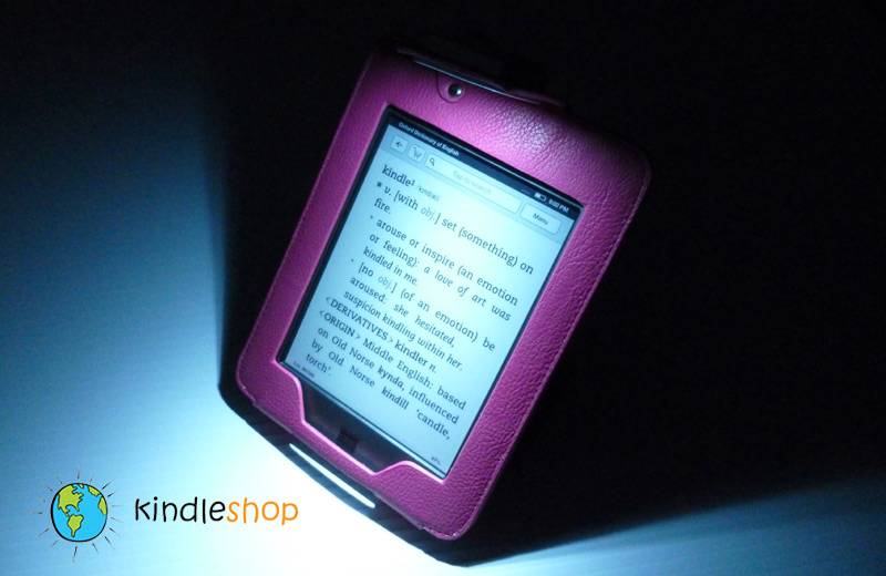 NEW PINK  Kindle TOUCH Light Lighted Leather Case Cover Stand 2X